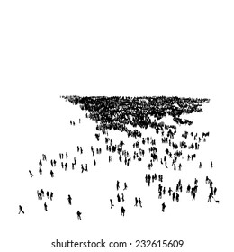 Silhouette of crowd, vector illustration