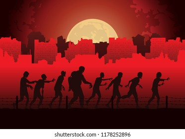 Silhouette crowd of zombies walking to finding victim on abandoned city background. Red Theme Illustration about Halloween.