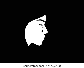 Silhouette of crying woman face on black background. Sadness and depression, broken heart feeling concept