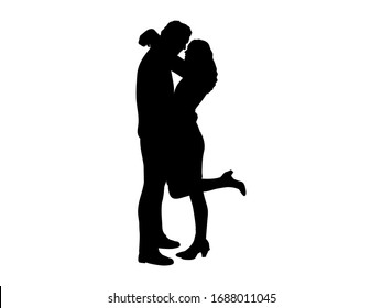 Silhouette of cuddling man and woman. Illustration icon symbol