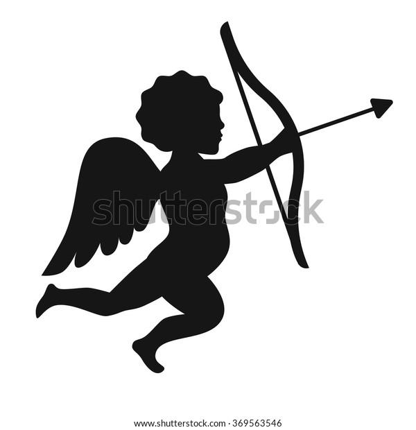 Silhouette Cupid Angel Bow Arrow Vector Stock Vector