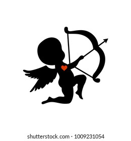 silhouette cupid shooting with his bow vector illustration on a white background