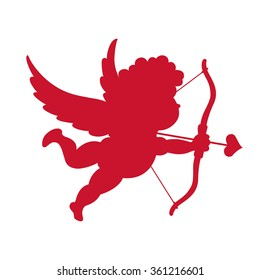 Silhouette of Cupid. Vector illustration
