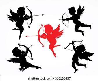 Silhouette cupids - Illustration