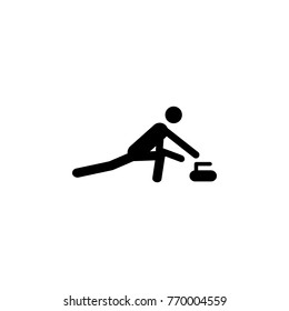 Silhouette Curling athlete isolated icon. Winter sport games discipline. Black and white design vector illustration. Web pictogram icon symbol for infographics on white background