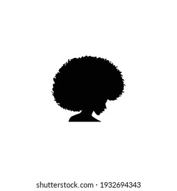 Silhouette Cute Beauty woman Head with Curls Curly Hair Logo Design Inspiration