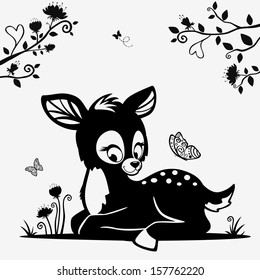 Silhouette of a cute black and white character fawn