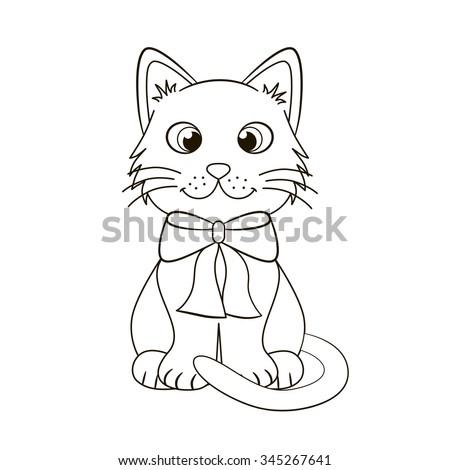 Silhouette Cute Funny Kitten Vector Illustration Stock ...