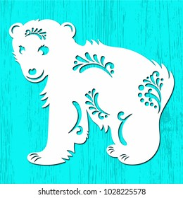 Silhouette of a cute ice bear with tribals. Suitable for die cutting or embossing