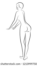 Silhouette of a cute lady from behind. The girl has a beautiful nude. A woman is standing, a young sexy and slim model. Vector illustration.