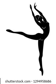 The silhouette of a cute lady, she is dancing ballet, circling fouette. The woman has a beautiful slim figure. Woman ballerina. Vector illustration.