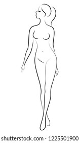 Silhouette of a cute lady, she is standing. The girl has a beautiful nude figure. Woman - young sexy and slim model. Vector illustrations.