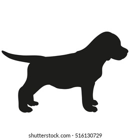 silhouette of a cute puppy ,vector, dog