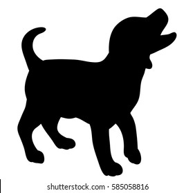 silhouette of a cute puppy,dog