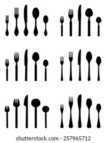 Silhouette of cutlery, vector
