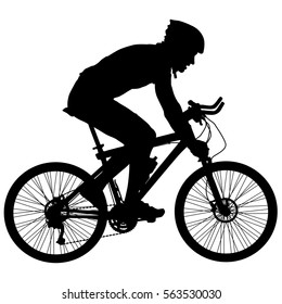 Silhouette of a cyclist male. vector illustration