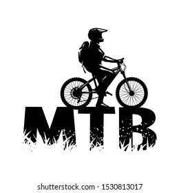 Silhouette of a cyclist on and the MTB letters.