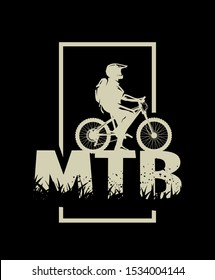 Silhouette of a cyclist on and the MTB letters on a dark background.