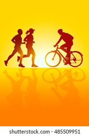 Silhouette of a cyclist and running people men and woman