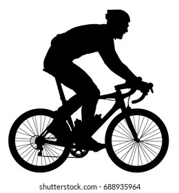 Silhouette of a cyclist, vector illustration