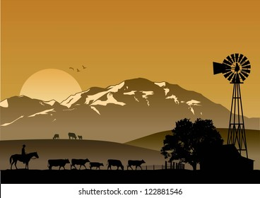 Silhouette of dairy farm at sunset, vector
