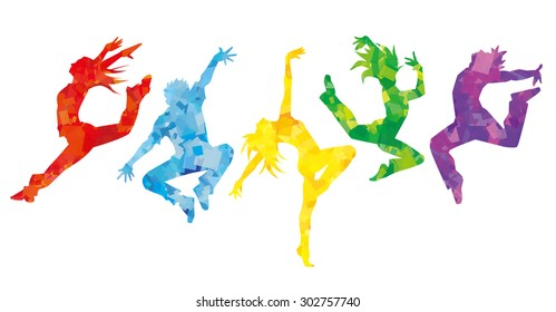 Silhouette of dancers (colorful)