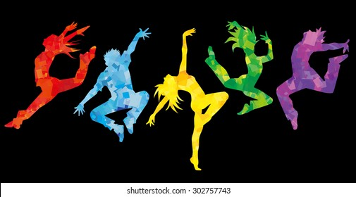 Silhouette of dancers (colorful.Black background)