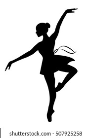 Silhouette of a dancing ballerina . Isolated background, white .sketch , vector.