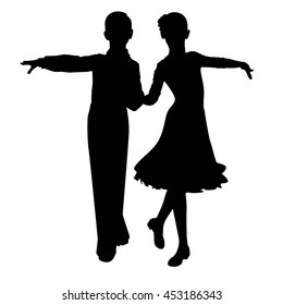 silhouette dancing children on white background vector