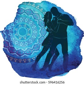 Silhouette of a dancing couple. Blue watercolor background.