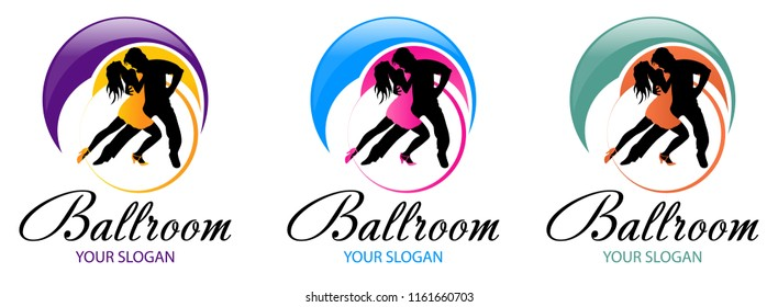 Silhouette of dancing couple. Dance logo designs template. Elements of dance multi colored icons. Simple icon for websites, web design, mobile app, info graphics, logo. Tango, waltz, latino style.