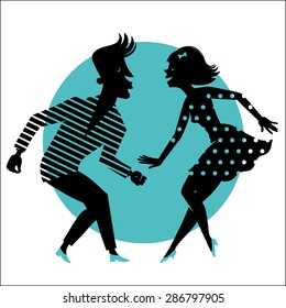 Silhouette of a dancing couple on a blue background.