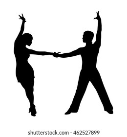silhouette of a dancing couple on a white background vector