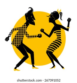Silhouette of a dancing couple on a yellow background.