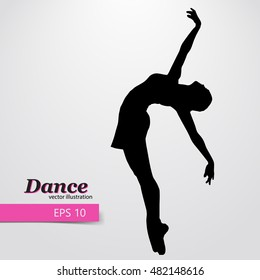 Silhouette of a dancing girl. Background and text on a separate layer, color can be changed in one click. Dancer woman. Dancer girl