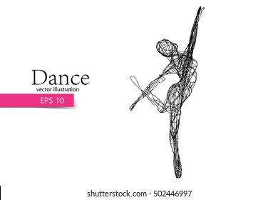 Silhouette of a dancing girl. Background and text on a separate layer, color can be changed in one click. Dancer woman. Dancer girl. Similar vector can be found in the portfolio.