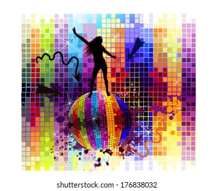silhouette of a dancing girl on disco ball. Vector
