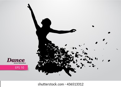 Silhouette of a dancing girl of particle. Background and text on a separate layer, color can be changed in one click. Dancing woman. Dancing girl