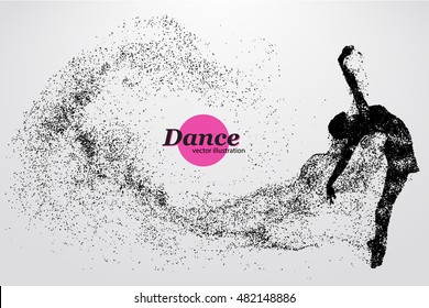 Silhouette of a dancing girl of particle. Background and text on a separate layer, color can be changed in one click. Dancer woman. Dancer girl