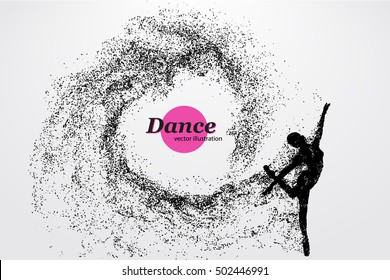 Silhouette of a dancing girl of particle. Background and text on a separate layer, color can be changed in one click. Dancer woman. Dancer girl. Similar vector can be found in the portfolio.