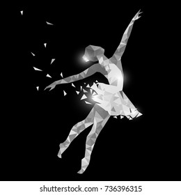Silhouette of a dancing girl of particle. Ballerina logo for ballet school, dance studio. Low poly style. Black and white colors.