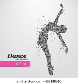 Silhouette of a dancing girl of triangle. Background and text on a separate layer, color can be changed in one click. Dancer woman. Dancer girl