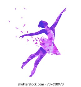 Silhouette of a dancing girl of triangle particles. Ballerina logo for ballet school, dance studio. Low poly style.