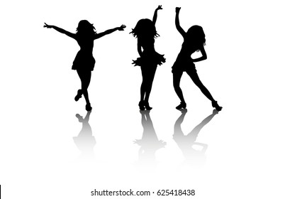 silhouette of dancing people, group