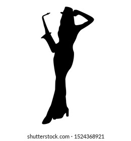 silhouette of dancing woman saxophonist vector in beautiful dress isolated on white. Woman playing saxophone