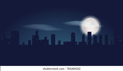 Silhouette of dark city buildings. Night landscape with skyscrapers and full moon. Vector illustration