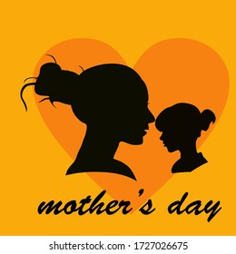 silhouette of daughters and mothers in a flat style. illustration of a girl and a mother in a flat style. Mother's Day