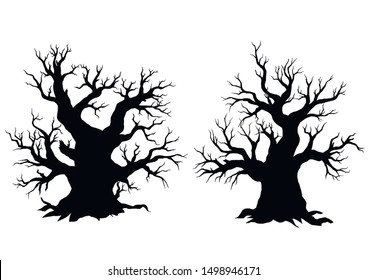 Silhouette of dead old trees on white background . EPS 8