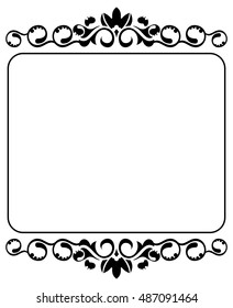 Silhouette decorative frame with free space for your text. Vector clip art.