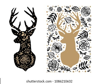 Silhouette of deer in the flower pattern. Hand drawn design elements. Black and white vector illustration. Nursery scandinavian art.
